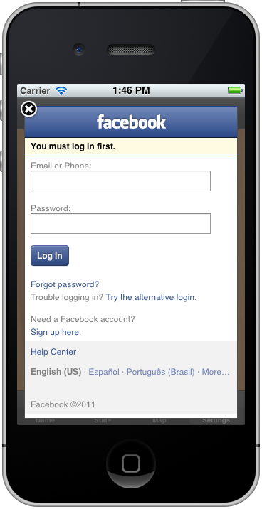 facebook mobile login iphone drupal 7 open graph timeline iphone app 14064